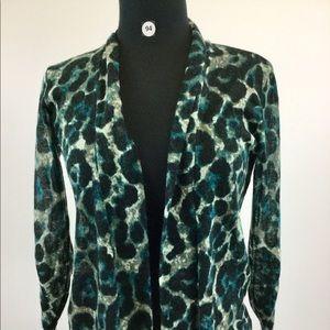 August Silk Animal Print Cardigan Size PS (B-94)
